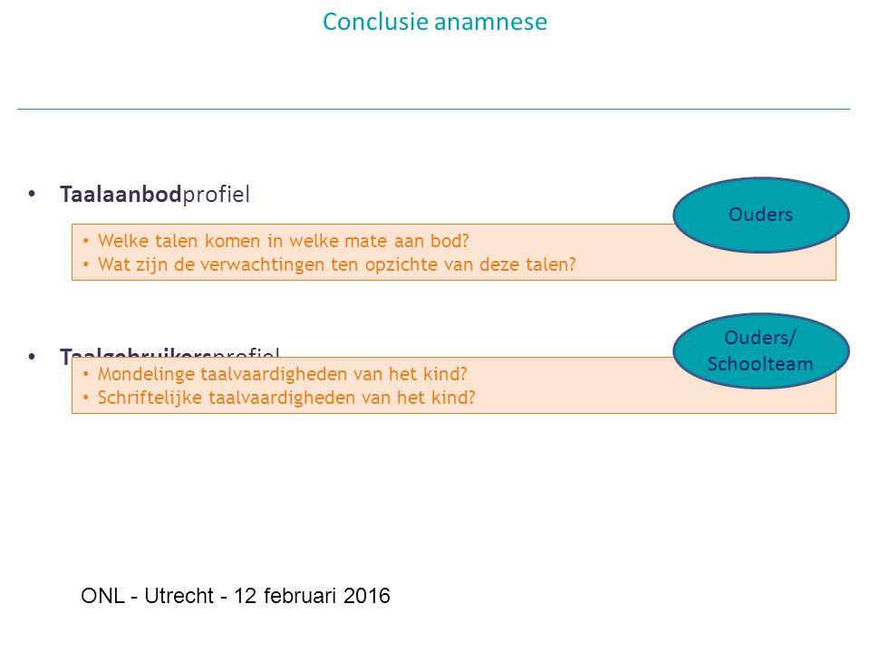 Taalaanbodprofiel Taalgebruikersprofiel Conclusie anamnese Welke talen komen in welke mate aan bod.