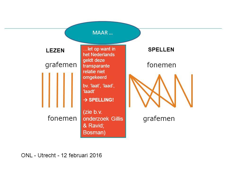 fonemen grafemen SPELLEN LEZEN fonemen grafemen …let op want in het Nederlands geldt deze transparante relatie niet omgekeerd bv.
