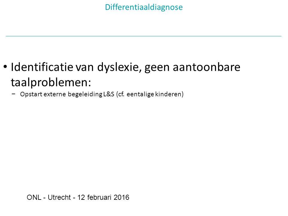 Differentiaaldiagnose Identificatie van dyslexie, geen aantoonbare taalproblemen: − Opstart externe begeleiding L&S (cf.