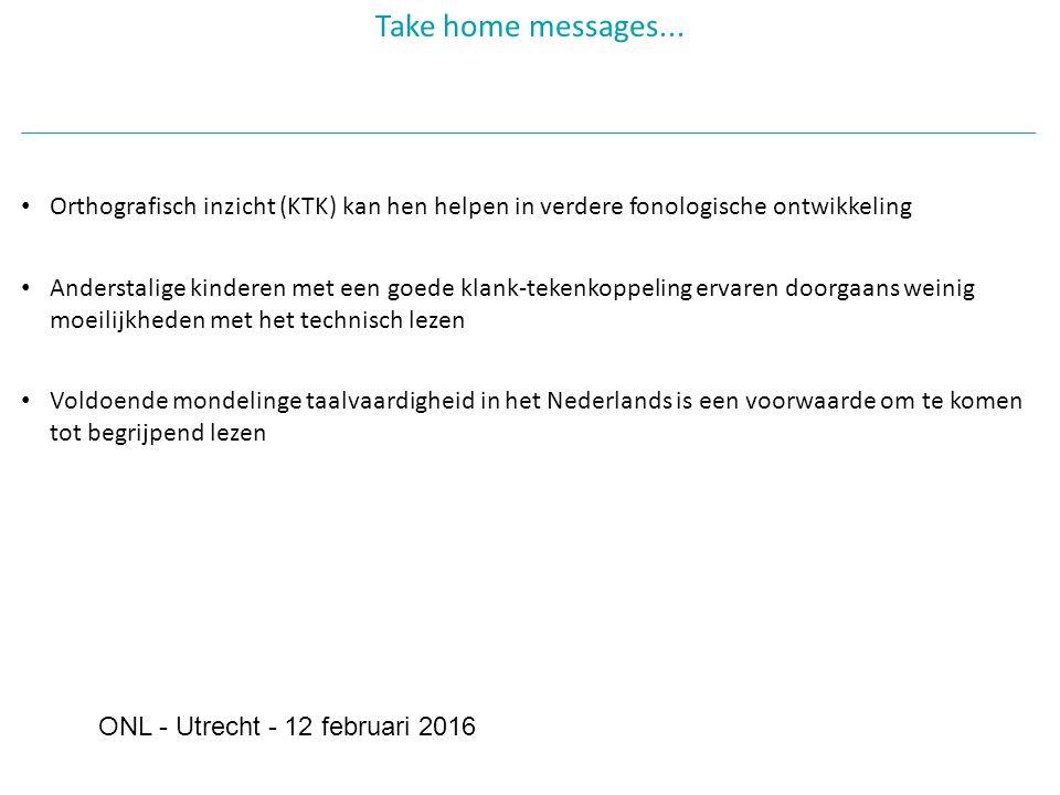 Orthografisch inzicht (KTK) kan hen helpen in verdere fonologische ontwikkeling Anderstalige kinderen met een goede klank-tekenkoppeling ervaren doorgaans weinig moeilijkheden met het technisch lezen Voldoende mondelinge taalvaardigheid in het Nederlands is een voorwaarde om te komen tot begrijpend lezen Take home messages...