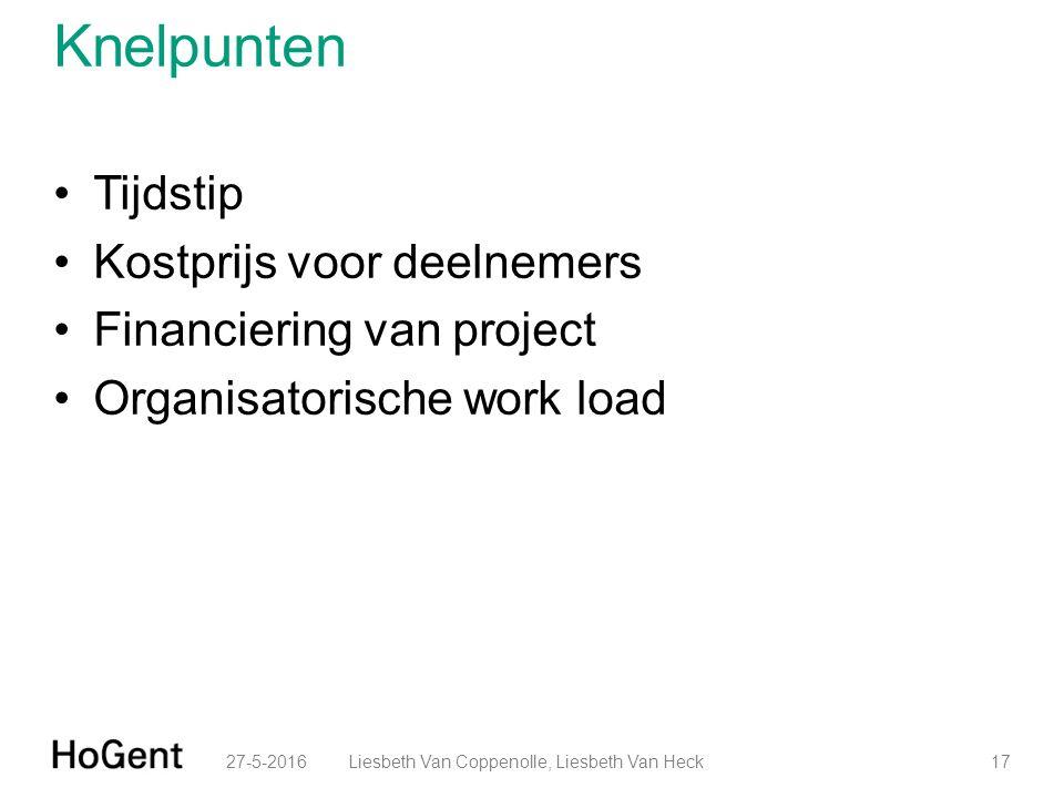 Knelpunten Tijdstip Kostprijs voor deelnemers Financiering van project Organisatorische work load 27-5-201617Liesbeth Van Coppenolle, Liesbeth Van Heck