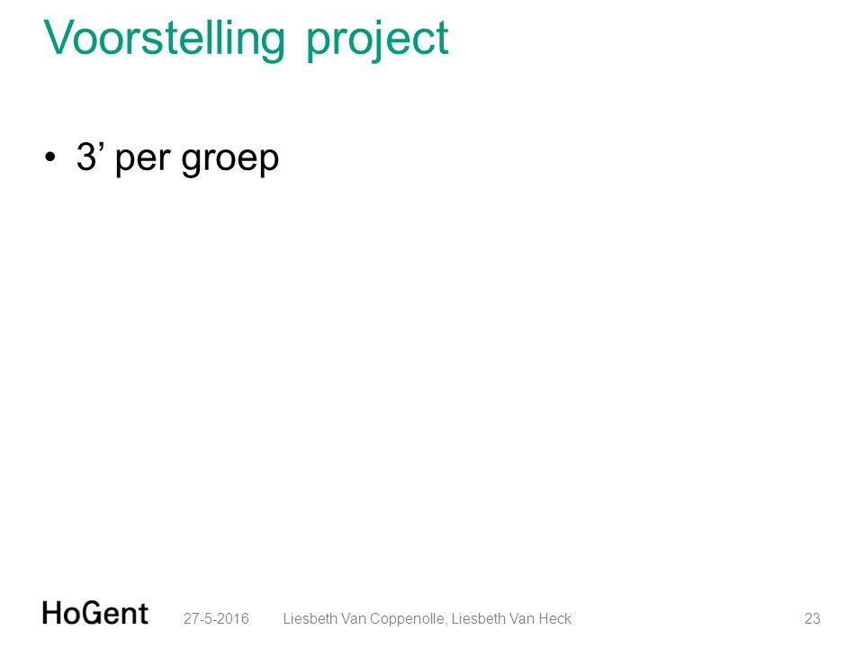 Voorstelling project 3' per groep 27-5-201623Liesbeth Van Coppenolle, Liesbeth Van Heck
