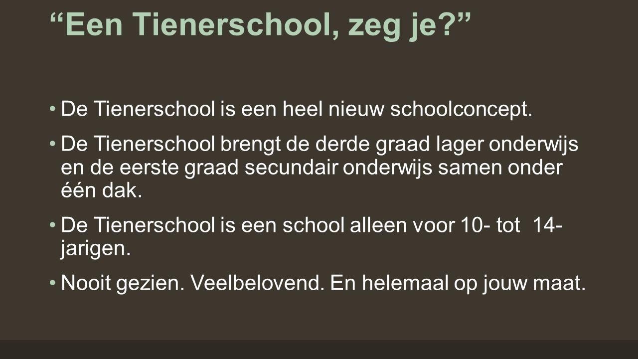 """""""Een Tienerschool, zeg je?"""" De Tienerschool is een heel nieuw schoolconcept. De Tienerschool brengt de derde graad lager onderwijs en de eerste graad"""