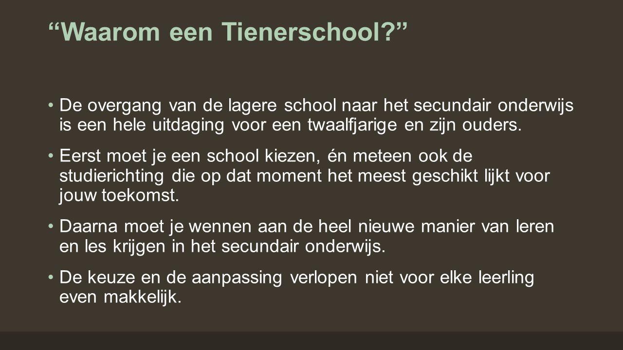 """""""Waarom een Tienerschool?"""" De overgang van de lagere school naar het secundair onderwijs is een hele uitdaging voor een twaalfjarige en zijn ouders. E"""