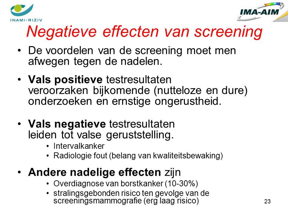 23 Negatieve effecten van screening De voordelen van de screening moet men afwegen tegen de nadelen.