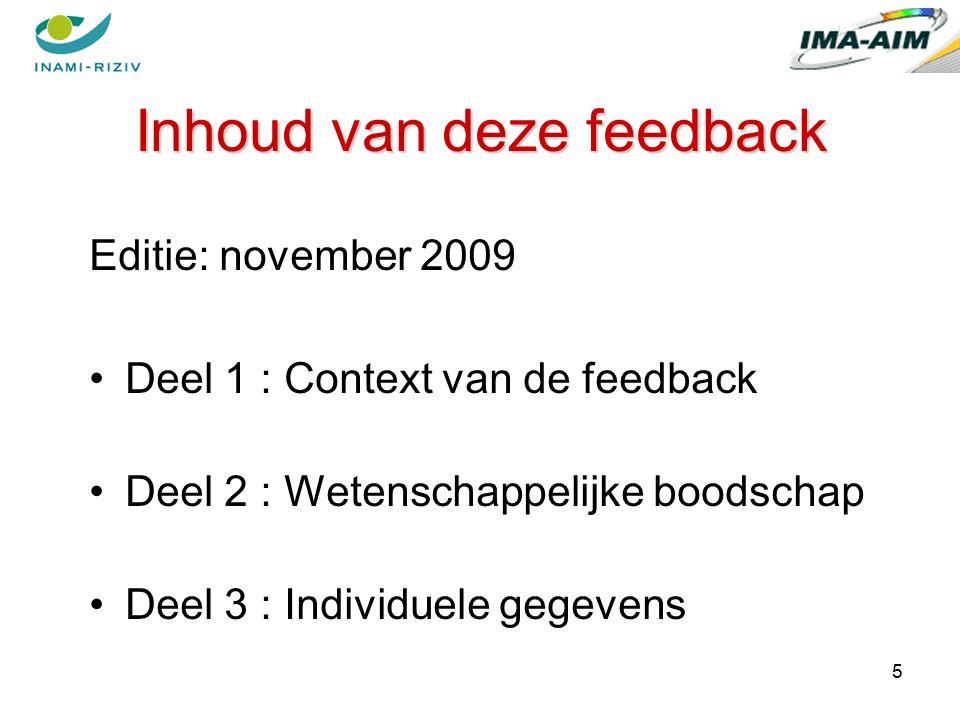 5 Inhoud van deze feedback Editie: november 2009 Deel 1 : Context van de feedback Deel 2 : Wetenschappelijke boodschap Deel 3 : Individuele gegevens