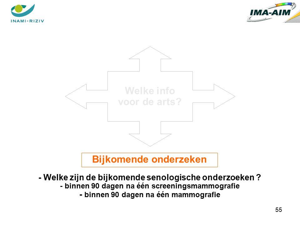 55 Bijkomende onderzeken - Welke zijn de bijkomende senologische onderzoeken .