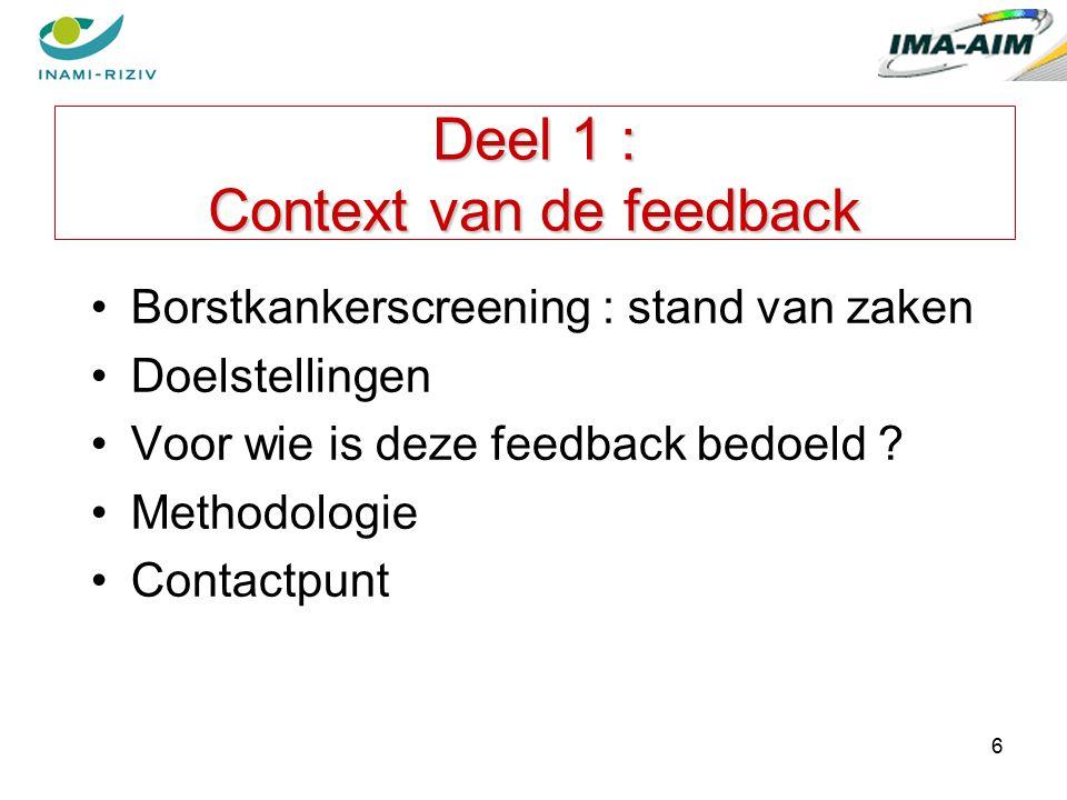 6 Deel 1 : Context van de feedback Borstkankerscreening : stand van zaken Doelstellingen Voor wie is deze feedback bedoeld .