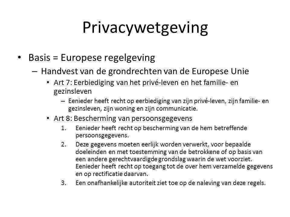 Privacywetgeving Basis = Europese regelgeving – Handvest van de grondrechten van de Europese Unie Art 7: Eerbiediging van het privé-leven en het familie- en gezinsleven – Eenieder heeft recht op eerbiediging van zijn privé-leven, zijn familie- en gezinsleven, zijn woning en zijn communicatie.