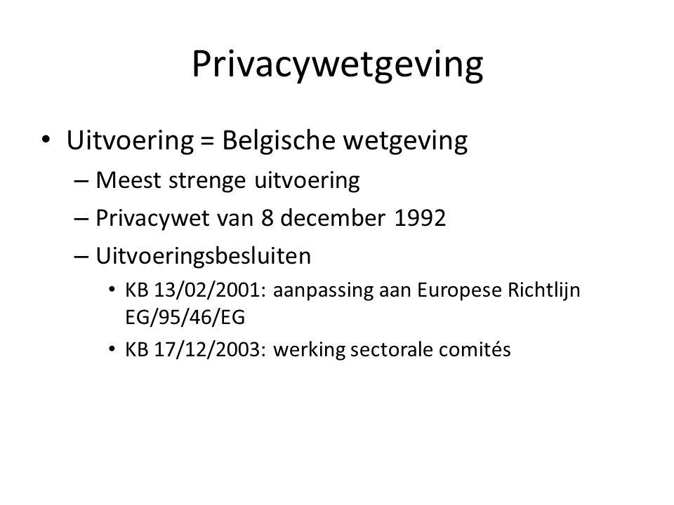 Privacywetgeving Uitvoering = Belgische wetgeving – Meest strenge uitvoering – Privacywet van 8 december 1992 – Uitvoeringsbesluiten KB 13/02/2001: aanpassing aan Europese Richtlijn EG/95/46/EG KB 17/12/2003: werking sectorale comités