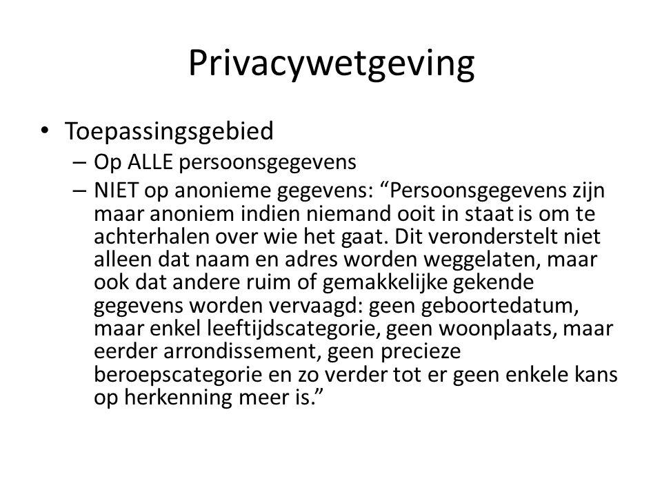 Privacywetgeving Toepassingsgebied – Op ALLE persoonsgegevens – NIET op anonieme gegevens: Persoonsgegevens zijn maar anoniem indien niemand ooit in staat is om te achterhalen over wie het gaat.