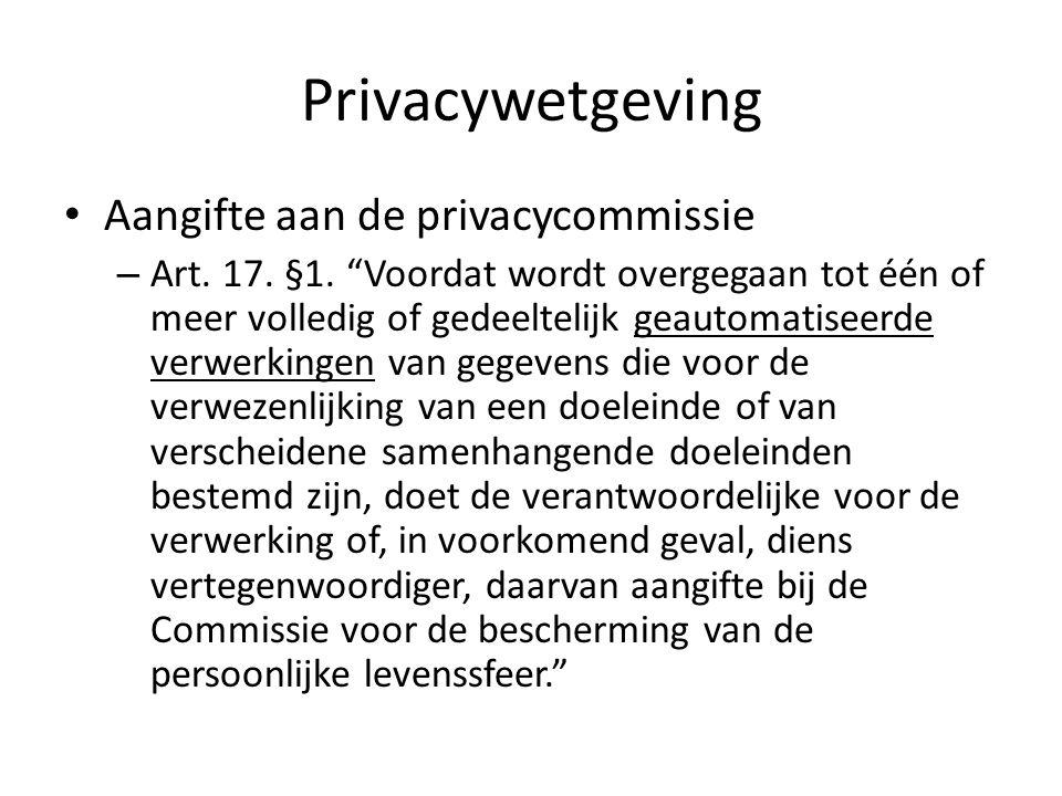 Privacywetgeving Aangifte aan de privacycommissie – Art.