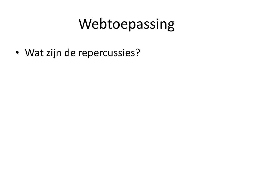 Webtoepassing Wat zijn de repercussies