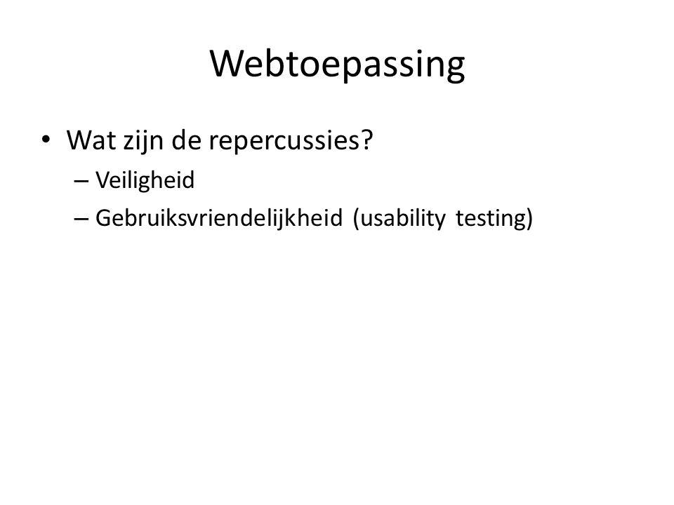 Webtoepassing Wat zijn de repercussies – Veiligheid – Gebruiksvriendelijkheid (usability testing)