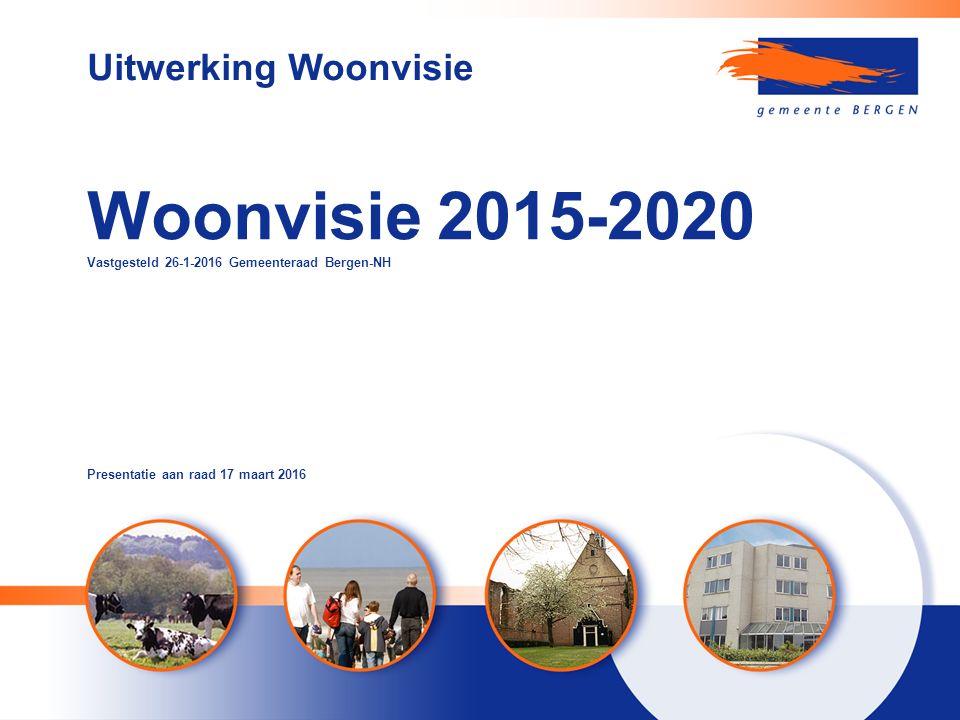 Woonvisie 2015-2020 Vastgesteld 26-1-2016 Gemeenteraad Bergen-NH Uitwerking Woonvisie Presentatie aan raad 17 maart 2016