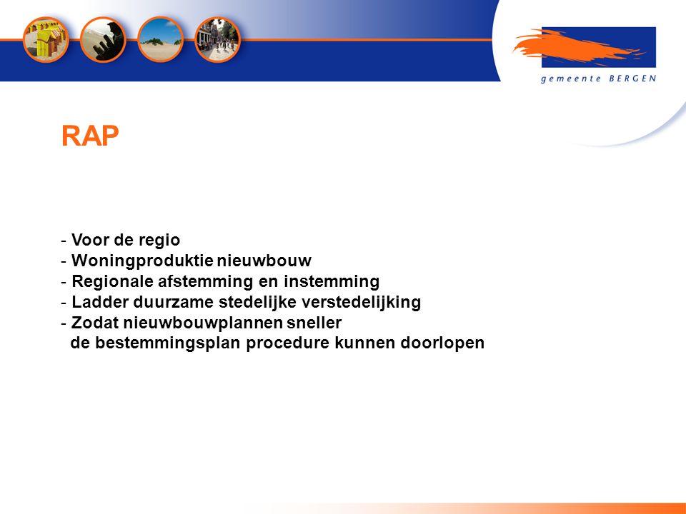 RAP - Voor de regio - Woningproduktie nieuwbouw - Regionale afstemming en instemming - Ladder duurzame stedelijke verstedelijking - Zodat nieuwbouwplannen sneller de bestemmingsplan procedure kunnen doorlopen