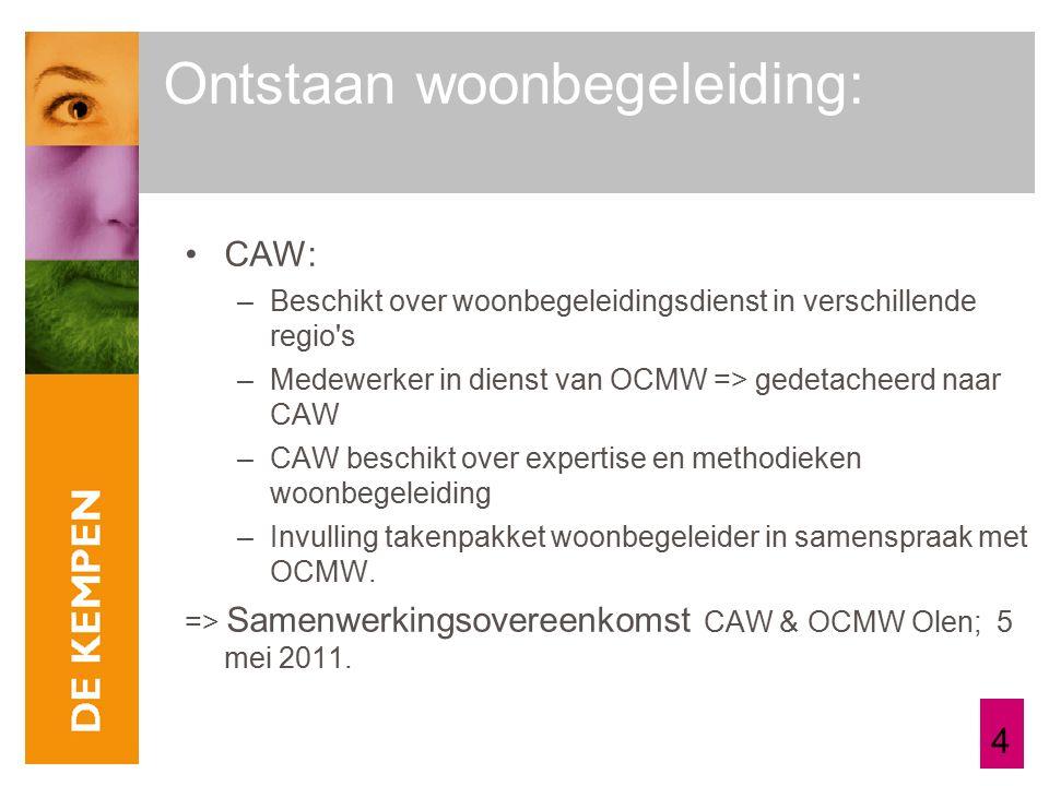 4 CAW: –Beschikt over woonbegeleidingsdienst in verschillende regio s –Medewerker in dienst van OCMW => gedetacheerd naar CAW –CAW beschikt over expertise en methodieken woonbegeleiding –Invulling takenpakket woonbegeleider in samenspraak met OCMW.
