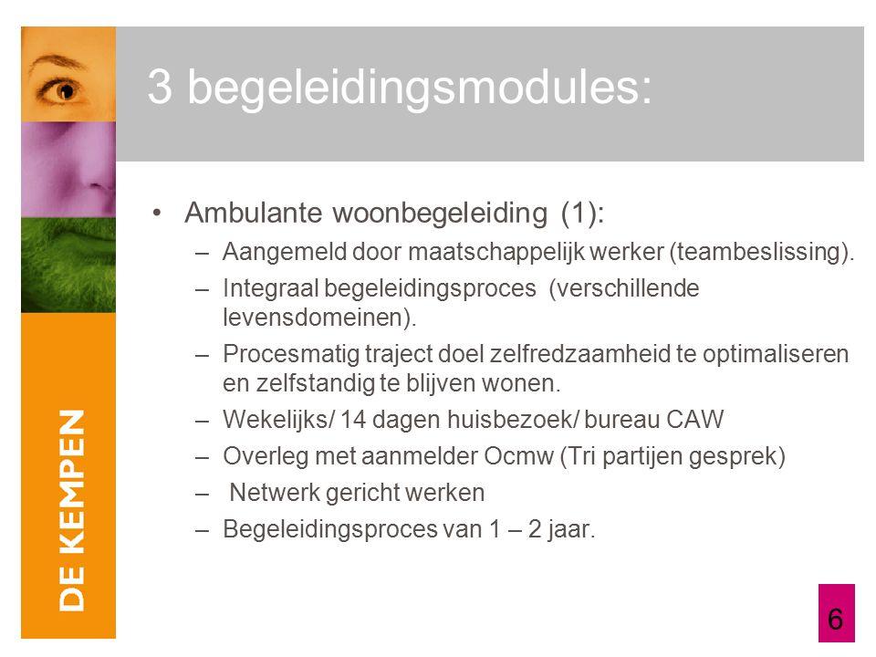 6 3 begeleidingsmodules: Ambulante woonbegeleiding (1): –Aangemeld door maatschappelijk werker (teambeslissing).