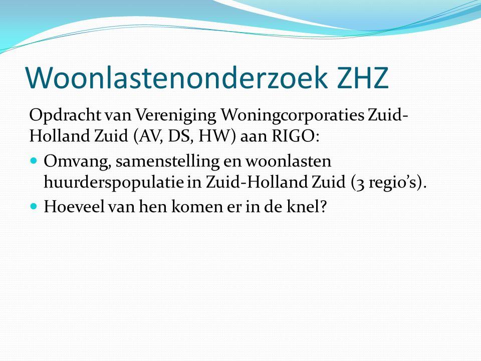 Woonlastenonderzoek ZHZ Opdracht van Vereniging Woningcorporaties Zuid- Holland Zuid (AV, DS, HW) aan RIGO: Omvang, samenstelling en woonlasten huurderspopulatie in Zuid-Holland Zuid (3 regio's).