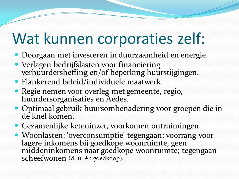 Wat kunnen corporaties zelf: Doorgaan met investeren in duurzaamheid en energie. Verlagen bedrijfslasten voor financiering verhuurdersheffing en/of be