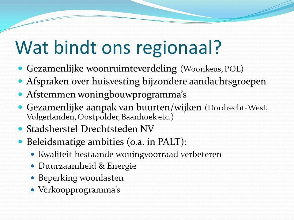 Wat bindt ons regionaal? Gezamenlijke woonruimteverdeling (Woonkeus, POL) Afspraken over huisvesting bijzondere aandachtsgroepen Afstemmen woningbouwp