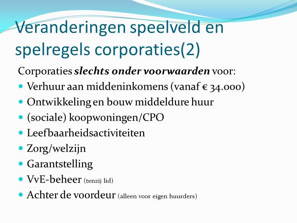 Veranderingen speelveld en spelregels corporaties(2) Corporaties slechts onder voorwaarden voor: Verhuur aan middeninkomens (vanaf € 34.000) Ontwikkel