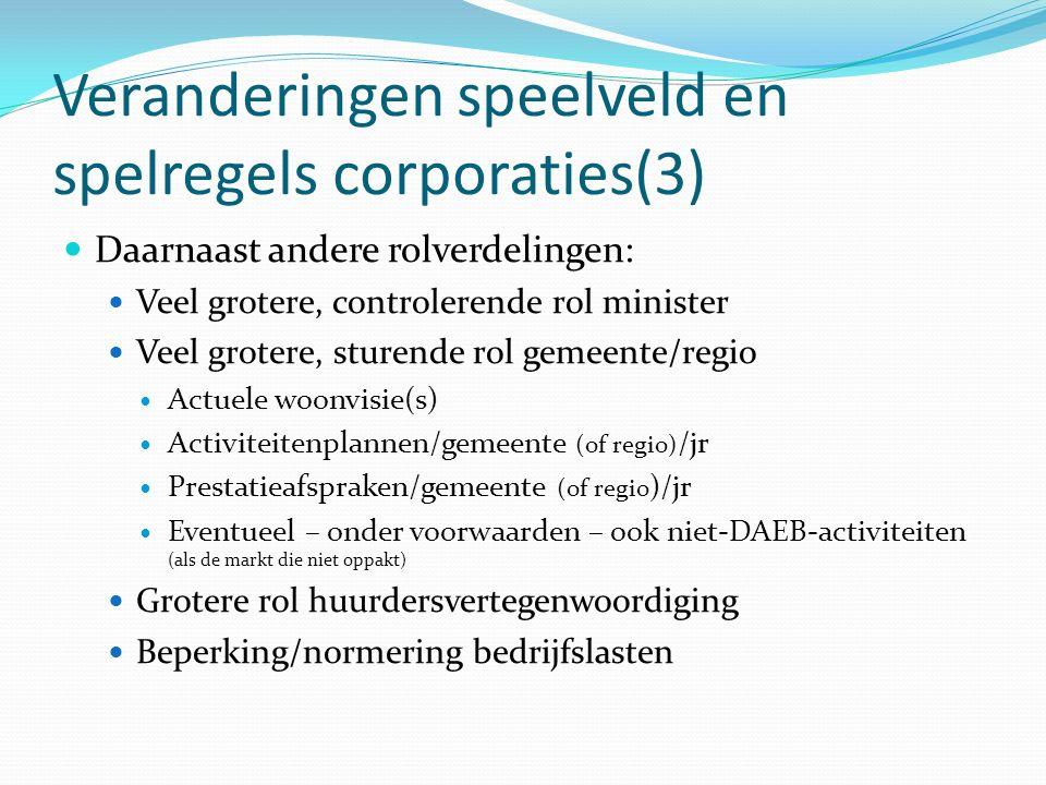 Veranderingen speelveld en spelregels corporaties(3) Daarnaast andere rolverdelingen: Veel grotere, controlerende rol minister Veel grotere, sturende