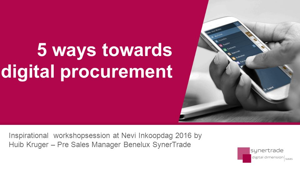 Deliver savings Manage spend Insure compliance Optimise SRM & supply costs CPOs business interactions and issues CPO CFO Systems Suppliers Business Units Does purchasing always have to be involved .