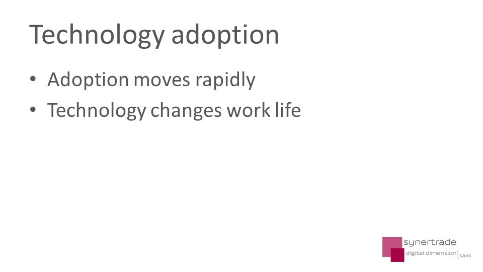 Adoption moves rapidly Technology changes work life