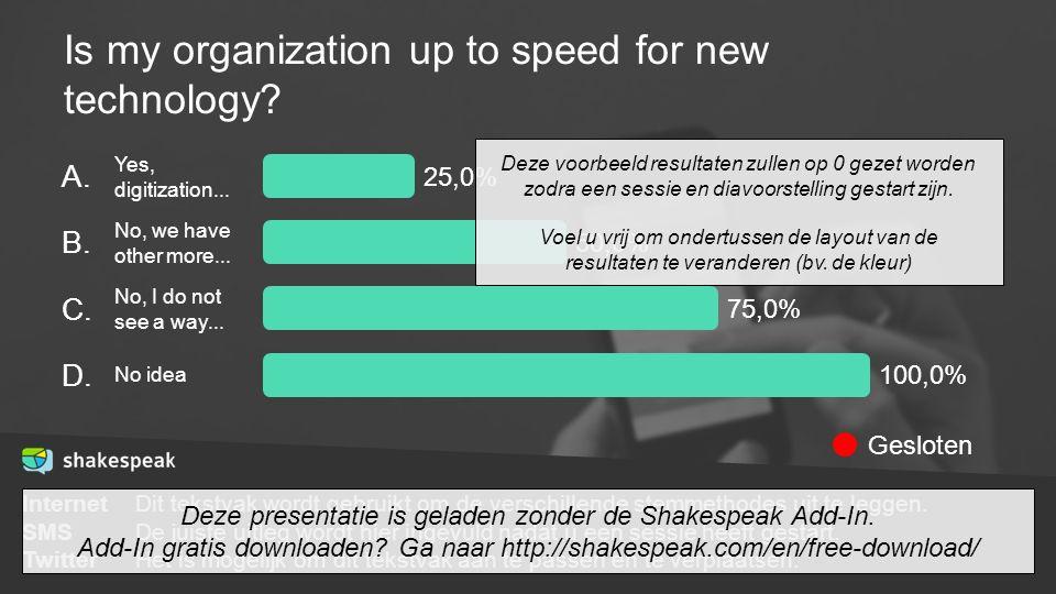 Is my organization up to speed for new technology? InternetDit tekstvak wordt gebruikt om de verschillende stemmethodes uit te leggen. SMSDe juiste ui