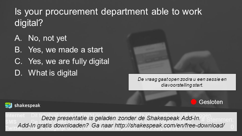 Is your procurement department able to work digital? A.No, not yet B.Yes, we made a start C.Yes, we are fully digital D.What is digital De vraag gaat