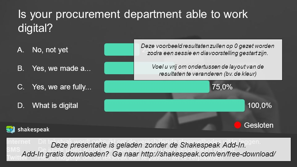 Is your procurement department able to work digital? A. B. C. D. No, not yet Yes, we made a... Yes, we are fully... What is digital 25,0% 50,0% 75,0%