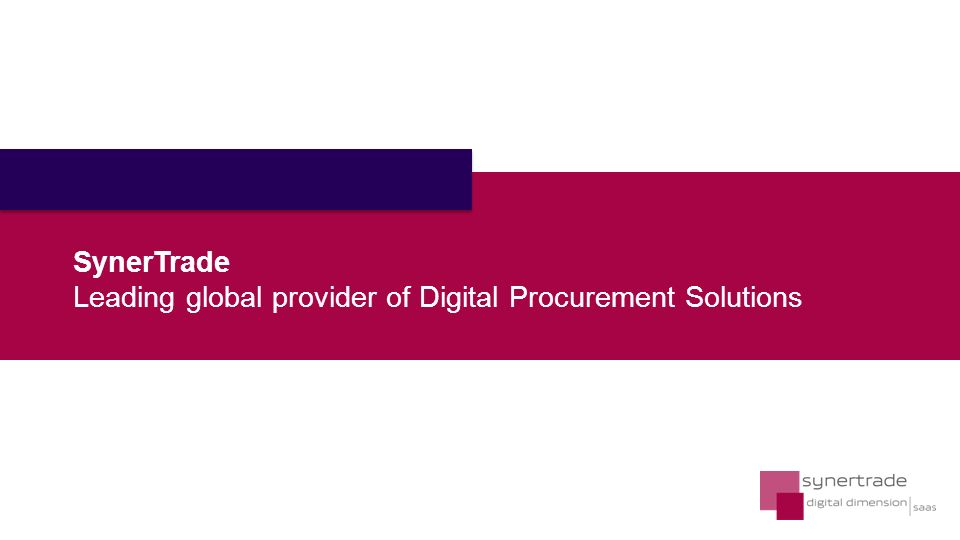 SynerTrade Leading global provider of Digital Procurement Solutions