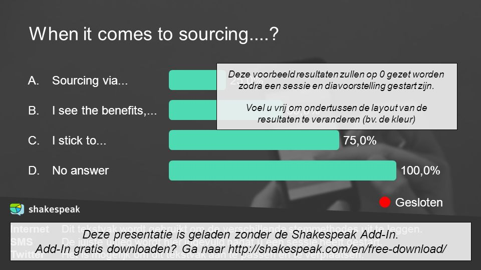 When it comes to sourcing....? A. B. C. D. Sourcing via... I see the benefits,... I stick to... No answer 25,0% 50,0% 75,0% 100,0% InternetDit tekstva