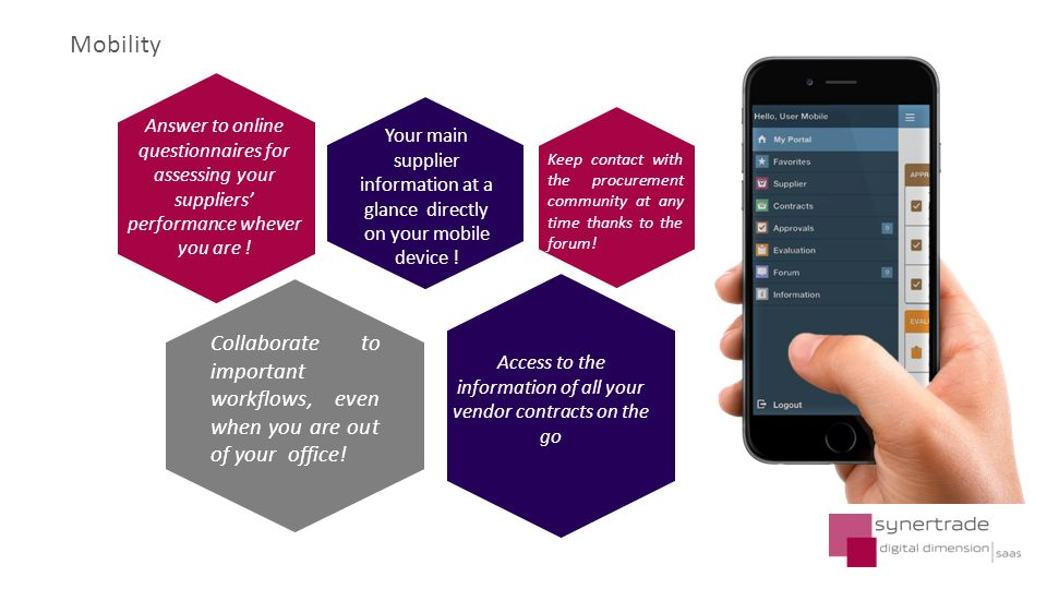 Mobility Your main supplier information at a glance directly on your mobile device .