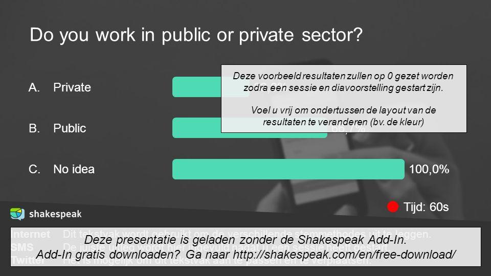 Do you work in public or private sector? InternetDit tekstvak wordt gebruikt om de verschillende stemmethodes uit te leggen. SMSDe juiste uitleg wordt