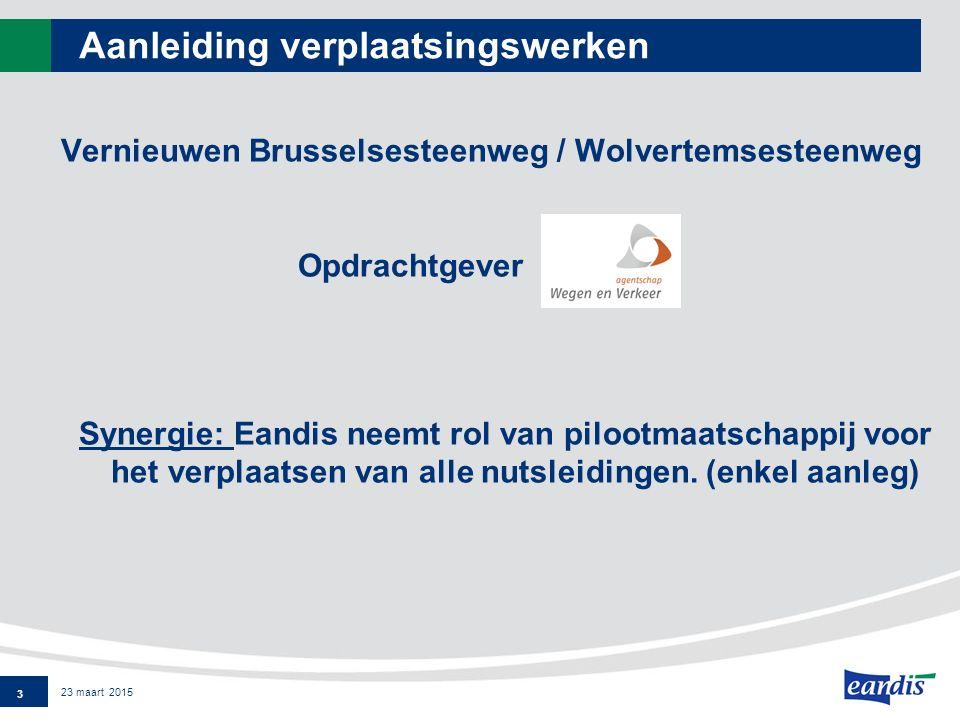 Aanleiding verplaatsingswerken Vernieuwen Brusselsesteenweg / Wolvertemsesteenweg Opdrachtgever Synergie: Eandis neemt rol van pilootmaatschappij voor het verplaatsen van alle nutsleidingen.