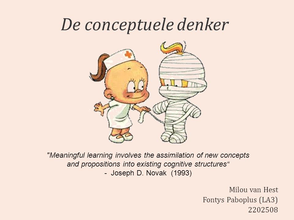 De conceptuele denker Milou van Hest Fontys Paboplus (LA3) 2202508 Meaningful learning involves the assimilation of new concepts and propositions into existing cognitive structures - Joseph D.