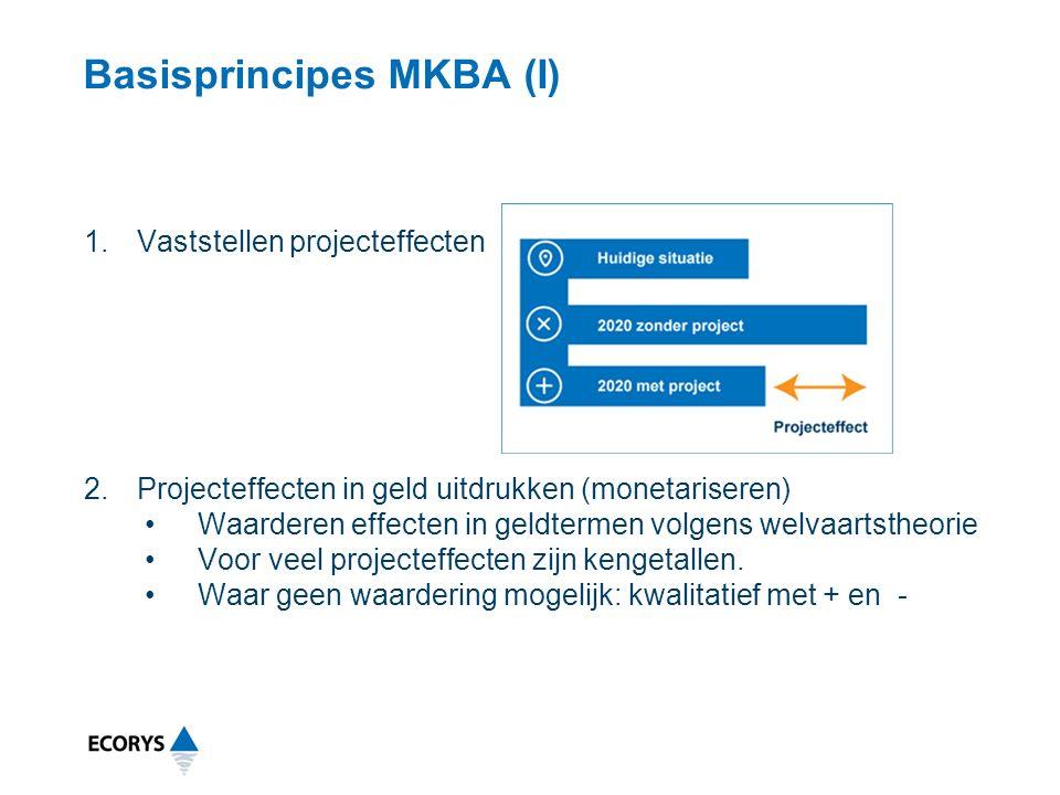 Basisprincipes MKBA (I) 1.Vaststellen projecteffecten 2.Projecteffecten in geld uitdrukken (monetariseren) Waarderen effecten in geldtermen volgens welvaartstheorie Voor veel projecteffecten zijn kengetallen.