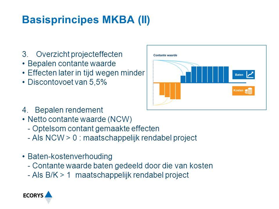 Basisprincipes MKBA (II) 3.Overzicht projecteffecten Bepalen contante waarde Effecten later in tijd wegen minder Discontovoet van 5,5% 4.