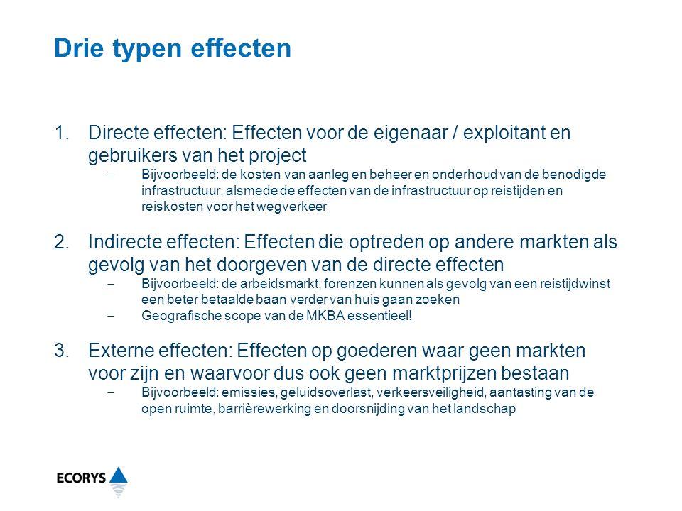 Drie typen effecten 1.Directe effecten: Effecten voor de eigenaar / exploitant en gebruikers van het project ‒ Bijvoorbeeld: de kosten van aanleg en beheer en onderhoud van de benodigde infrastructuur, alsmede de effecten van de infrastructuur op reistijden en reiskosten voor het wegverkeer 2.Indirecte effecten: Effecten die optreden op andere markten als gevolg van het doorgeven van de directe effecten ‒ Bijvoorbeeld: de arbeidsmarkt; forenzen kunnen als gevolg van een reistijdwinst een beter betaalde baan verder van huis gaan zoeken ‒ Geografische scope van de MKBA essentieel.