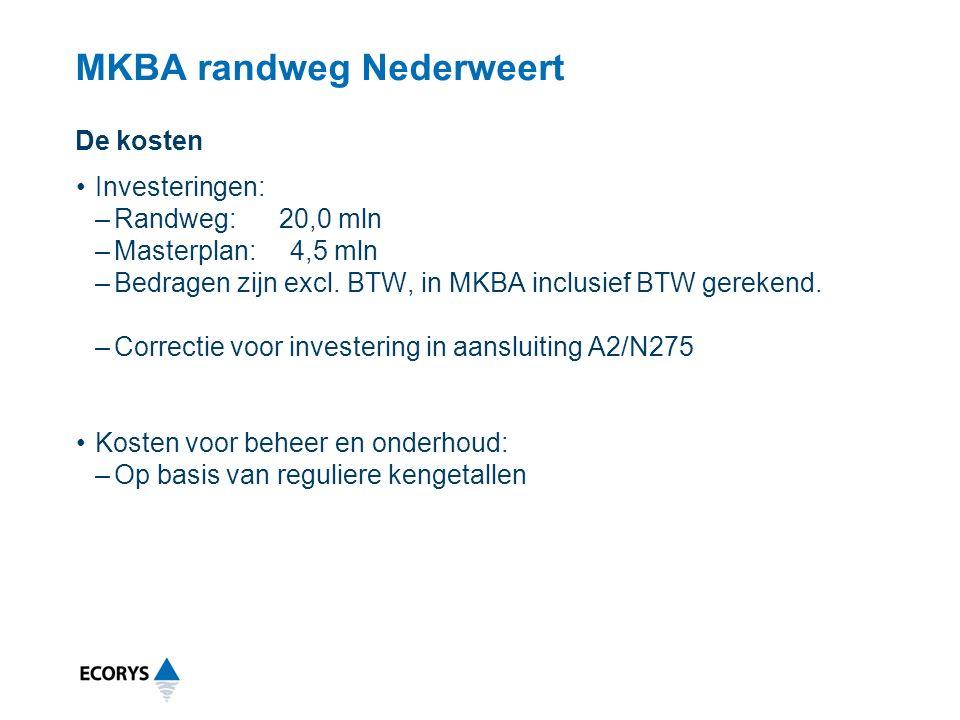 MKBA randweg Nederweert Investeringen: –Randweg: 20,0 mln –Masterplan: 4,5 mln –Bedragen zijn excl.