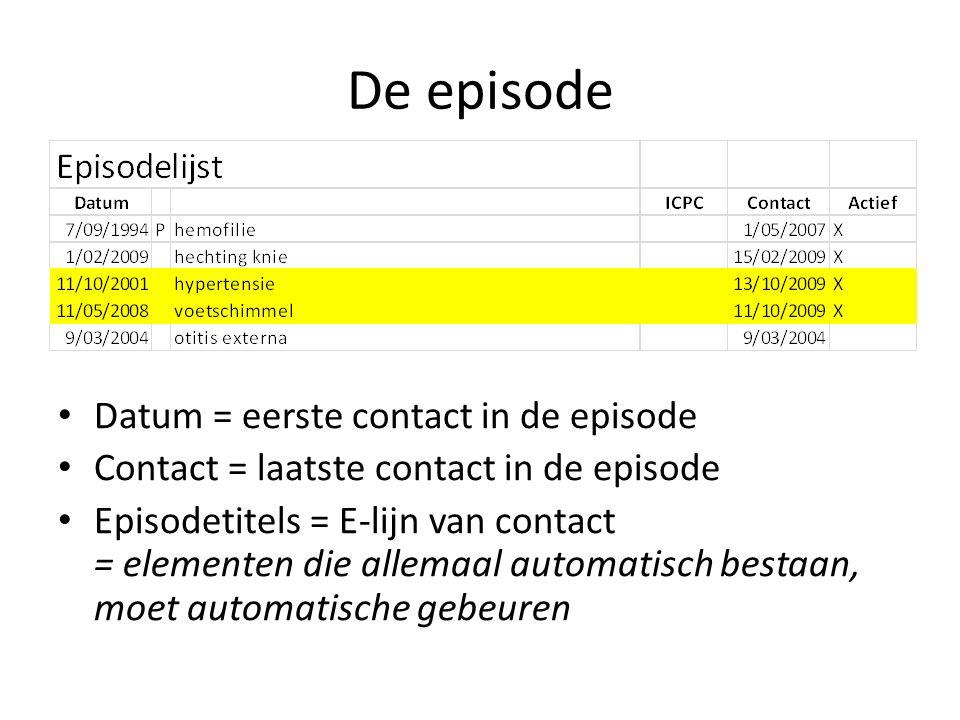 De episode Datum = eerste contact in de episode Contact = laatste contact in de episode Episodetitels = E-lijn van contact = elementen die allemaal automatisch bestaan, moet automatische gebeuren