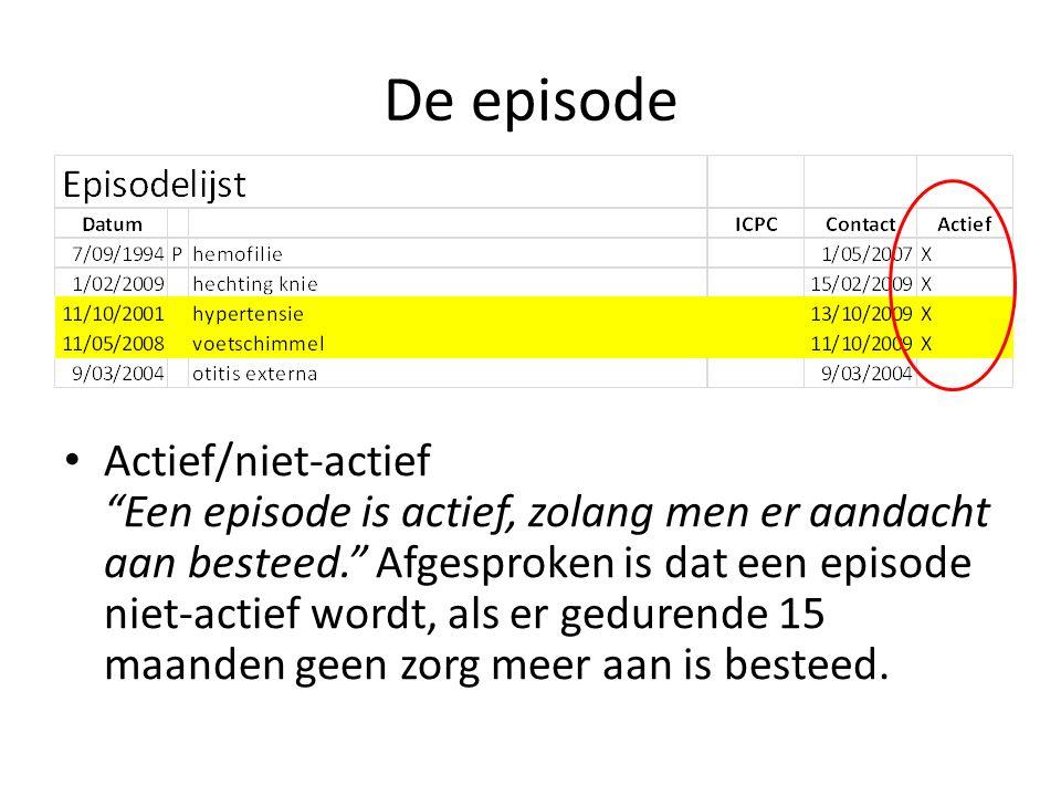 De episode Actief/niet-actief Een episode is actief, zolang men er aandacht aan besteed. Afgesproken is dat een episode niet-actief wordt, als er gedurende 15 maanden geen zorg meer aan is besteed.
