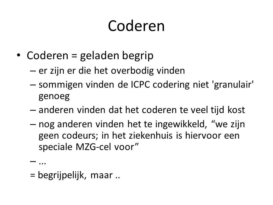 Coderen Coderen = geladen begrip – er zijn er die het overbodig vinden – sommigen vinden de ICPC codering niet granulair genoeg – anderen vinden dat het coderen te veel tijd kost – nog anderen vinden het te ingewikkeld, we zijn geen codeurs; in het ziekenhuis is hiervoor een speciale MZG-cel voor –...