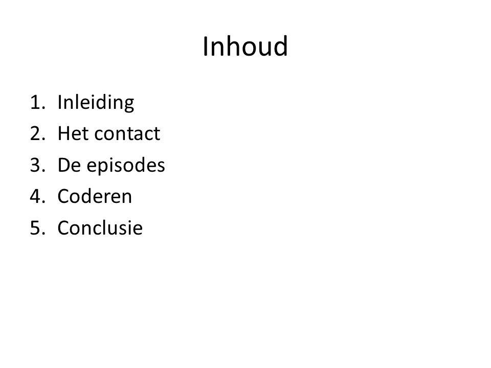 Inhoud 1.Inleiding 2.Het contact 3.De episodes 4.Coderen 5.Conclusie