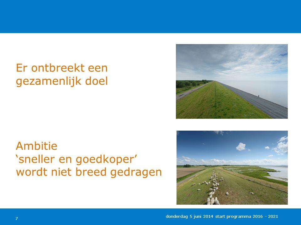 RWS en Waterschappen hebben geen begrip voor elkaars positie 8 donderdag 5 juni 2014 start programma 2016 - 2021