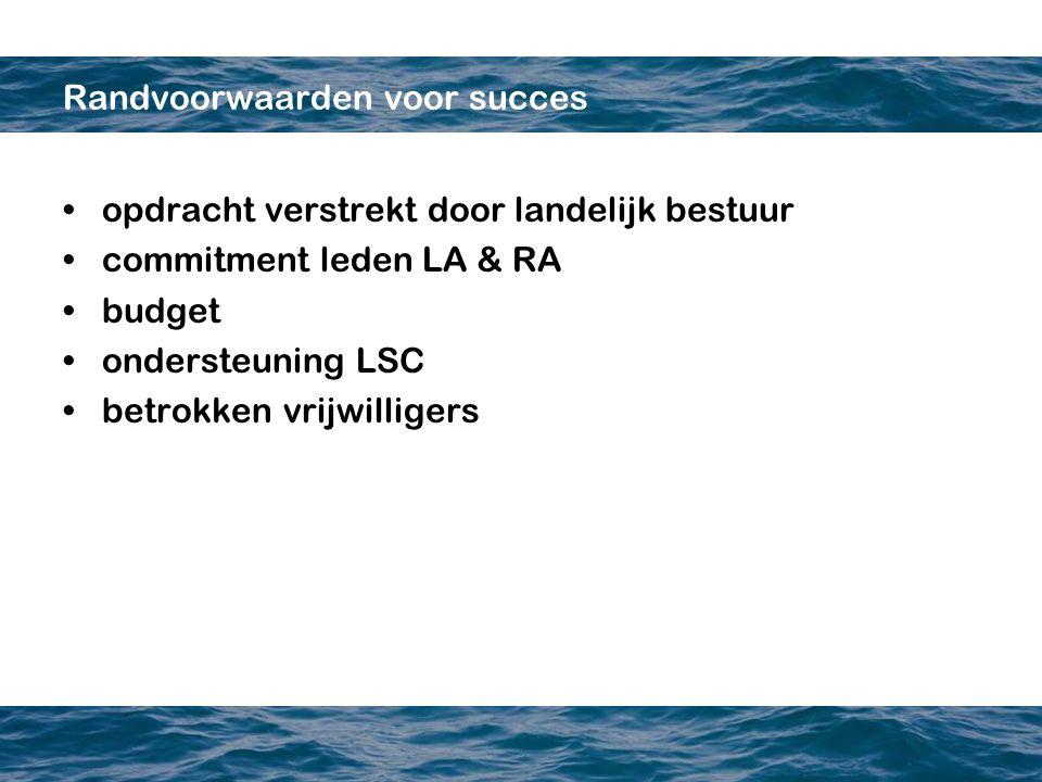 Randvoorwaarden voor succes opdracht verstrekt door landelijk bestuur commitment leden LA & RA budget ondersteuning LSC betrokken vrijwilligers