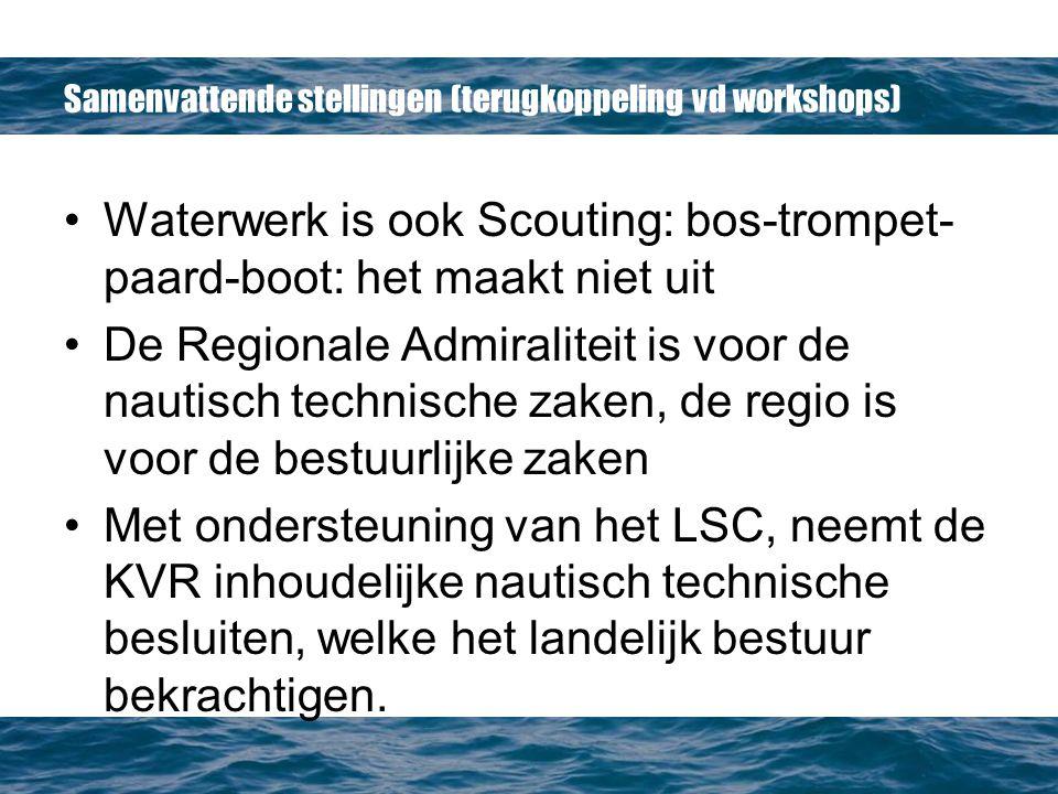 Samenvattende stellingen (terugkoppeling vd workshops) Waterwerk is ook Scouting: bos-trompet- paard-boot: het maakt niet uit De Regionale Admiraliteit is voor de nautisch technische zaken, de regio is voor de bestuurlijke zaken Met ondersteuning van het LSC, neemt de KVR inhoudelijke nautisch technische besluiten, welke het landelijk bestuur bekrachtigen.