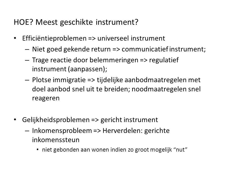 HOE? Meest geschikte instrument? Efficiëntieproblemen => universeel instrument – Niet goed gekende return => communicatief instrument; – Trage reactie